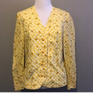 NEW Vintage Yellow Gingham Floral Jacket Blazer